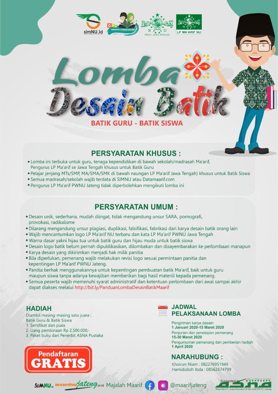 Lomba Desain Batik LP Ma'arif PWNU Jawa Tengah - Suara ...